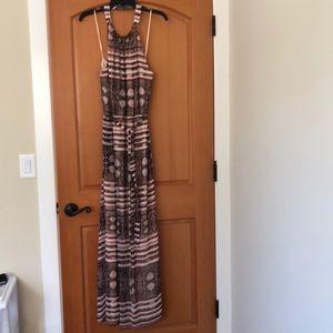 Snake print halter maxi dress